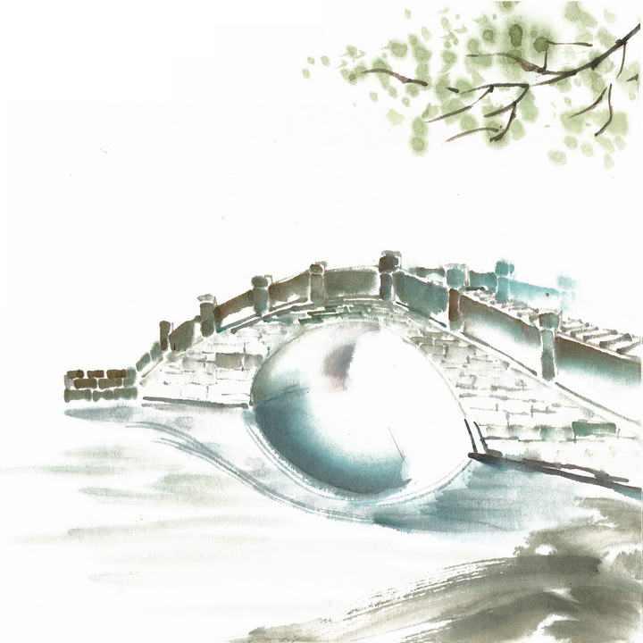 水墨画风格简约中国传统建筑拱桥桥梁风景图png免抠图片