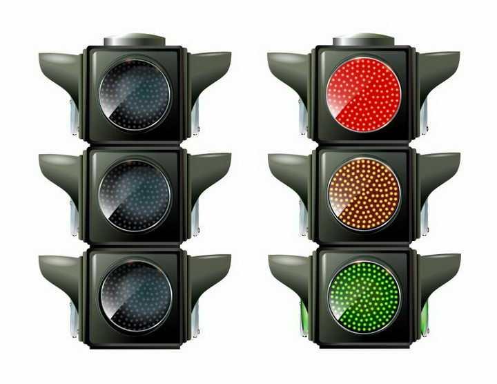 亮着和熄灭的红绿灯交通信号灯免抠png图片矢量图素材
