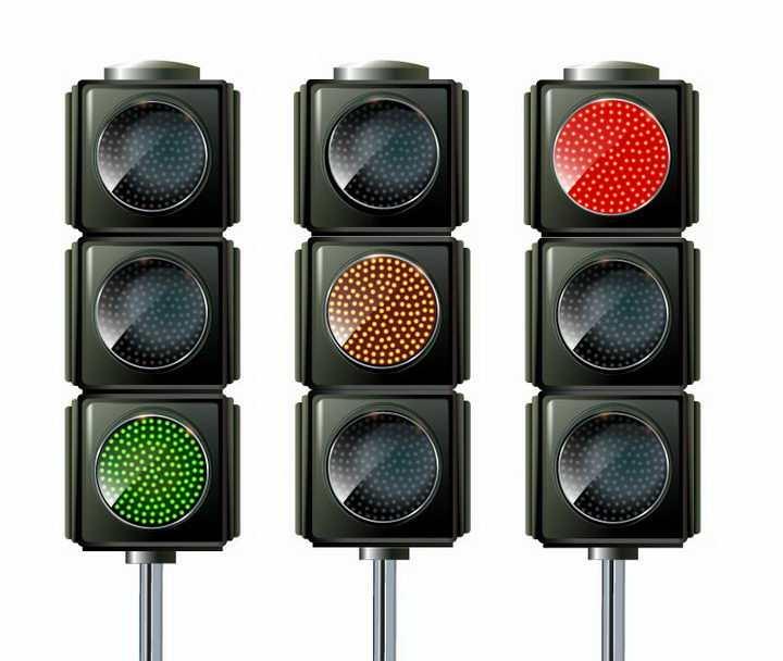 三种状态的红绿灯交通信号灯免抠png图片矢量图素材