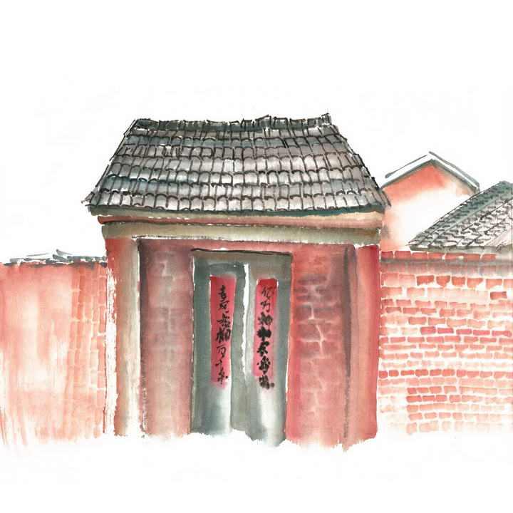 彩色手绘风格老家农村建筑砖墙大门png免抠图片