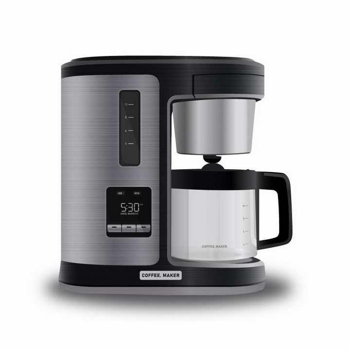 黑色银色的咖啡机小家电免抠png图片矢量图素材