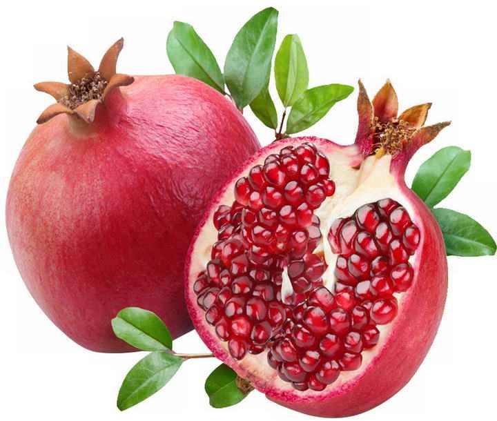 切开的红色石榴水果png免抠图片