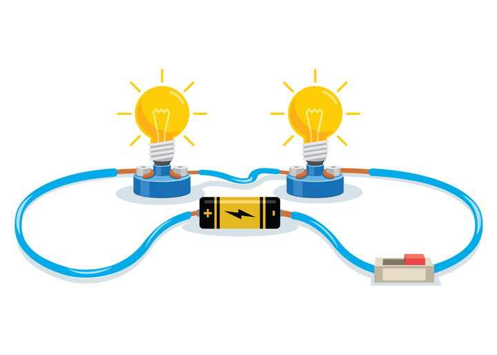 彩色电池电路物理实验用品图片免抠矢量图