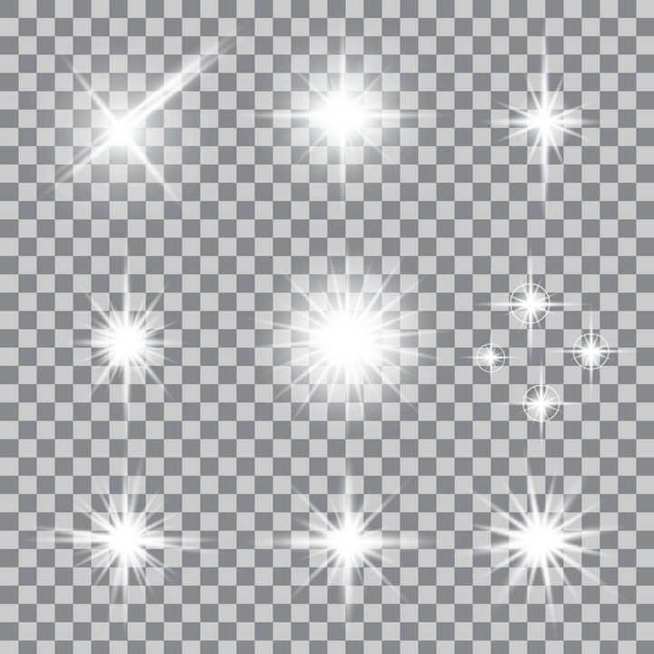9种白色发光星光效果图片免抠矢量图