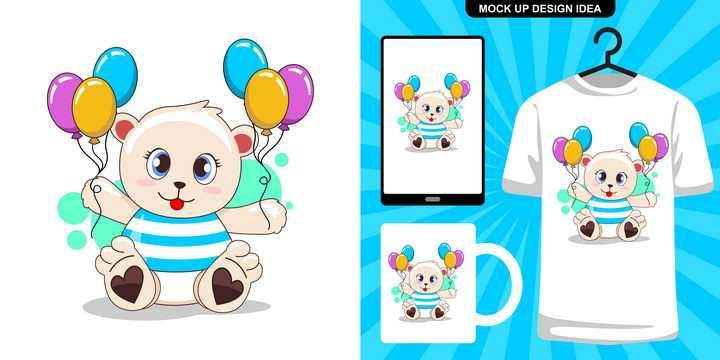 可爱卡通拿着气球的玩具小熊图片免抠素材