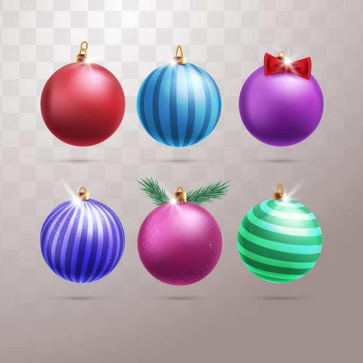 6种圣诞节装饰彩色条纹圣诞球图片免抠矢量图