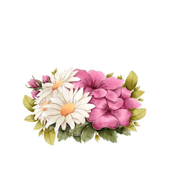 手绘风格盛开的花朵花卉鲜花图片免抠矢量图