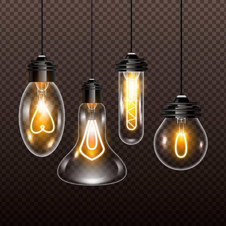 4种逼真的发光灯泡白炽灯灯泡图片免抠矢量图
