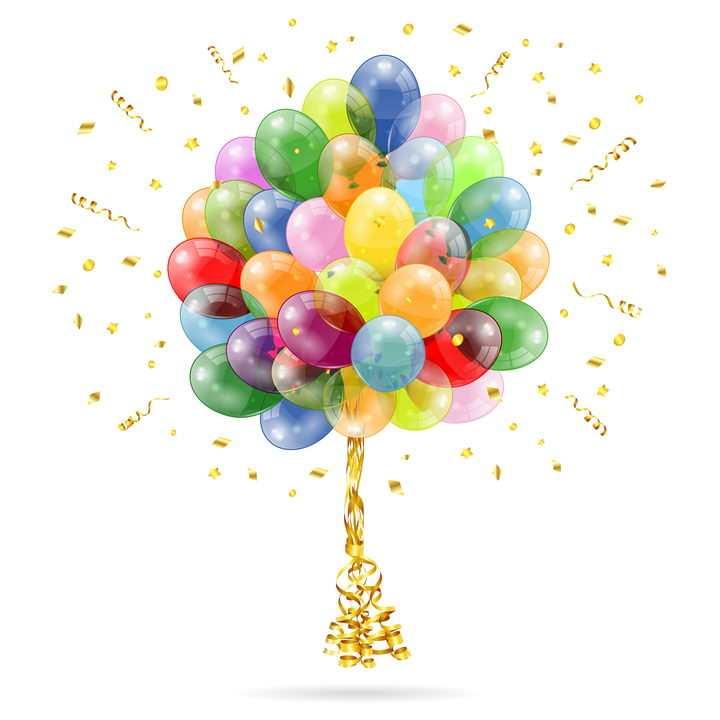彩色气球和金色撒花装饰效果图片免抠矢量图
