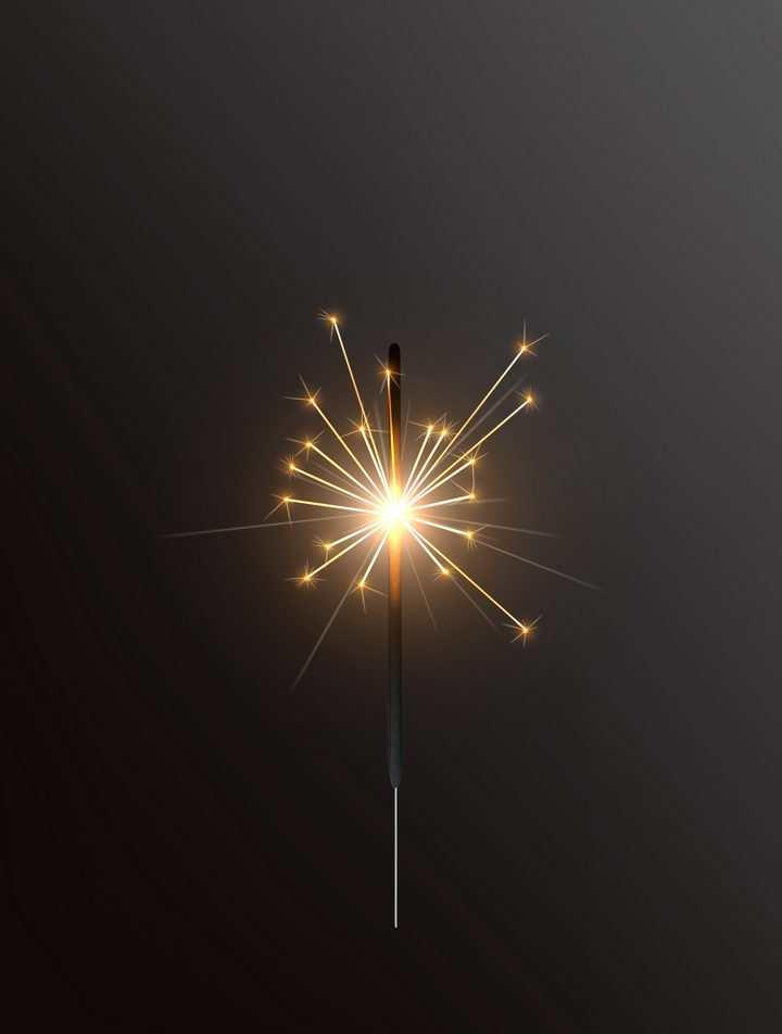 闪着金色火星光芒燃烧了半截的烟火棒图片免抠矢量图