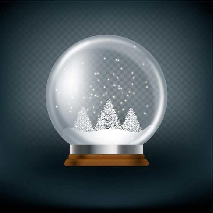 白色的雪花玻璃球水晶球图片免抠矢量图