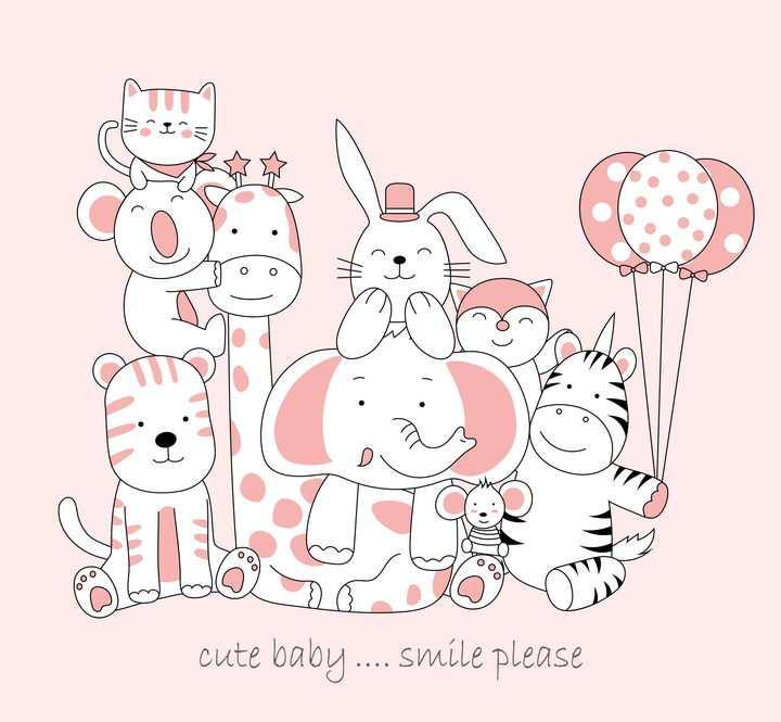 卡通风格拿着气球的小动物们图片免抠素材