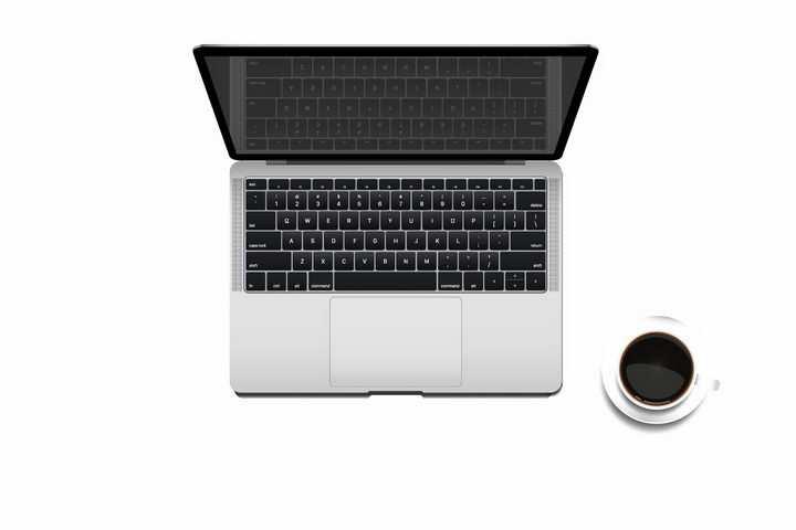俯视视角的笔记本电脑和咖啡免抠png图片矢量图素材