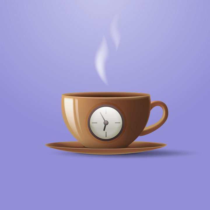创意带时钟的咖啡杯图片免抠矢量图