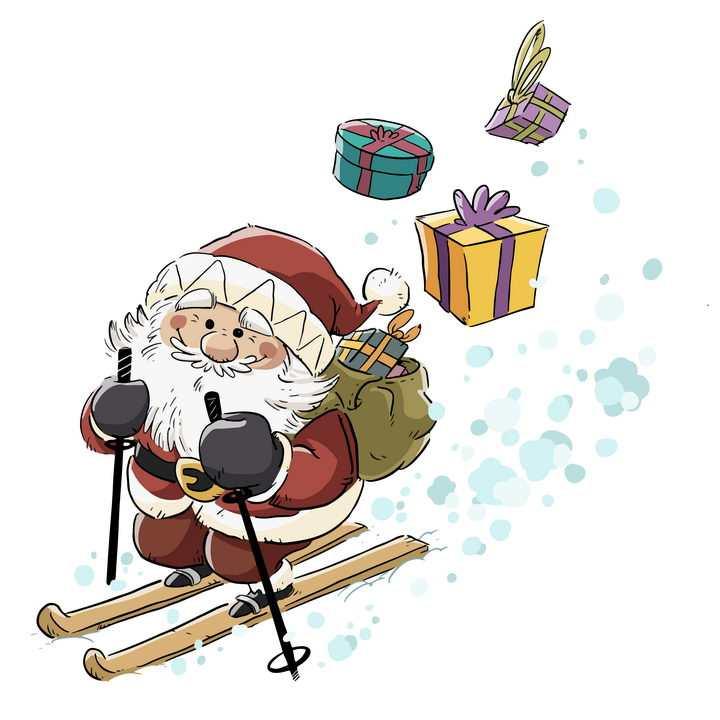 手绘卡通插画风格滑雪送圣诞礼物的圣诞老人图片免抠矢量图