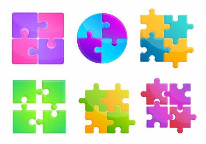 6款不同形状的水晶风格拼图图案免抠png图片矢量图素材