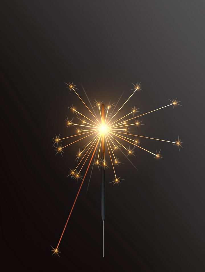 闪着金色火星光芒燃烧着的烟火棒图片免抠矢量图