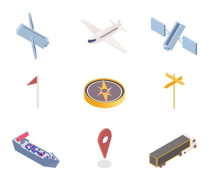 2.5D风格各种导航卫星飞机定位素材图片免抠素材