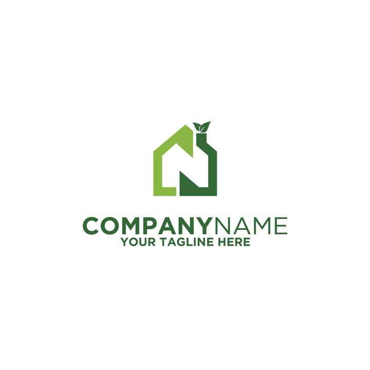 绿色家居logo设计方案图片免抠素材