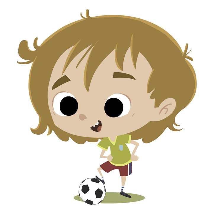 手绘卡通风格踢足球的小男孩图片免抠矢量图