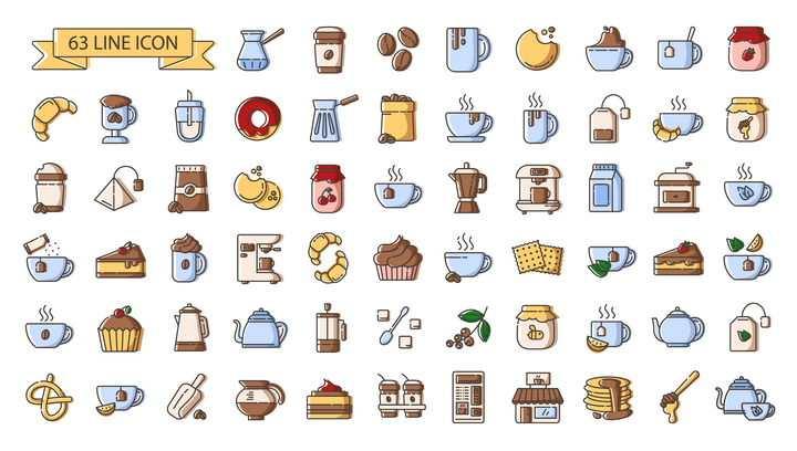 63款咖啡喝茶等热饮料图标图片免抠矢量图