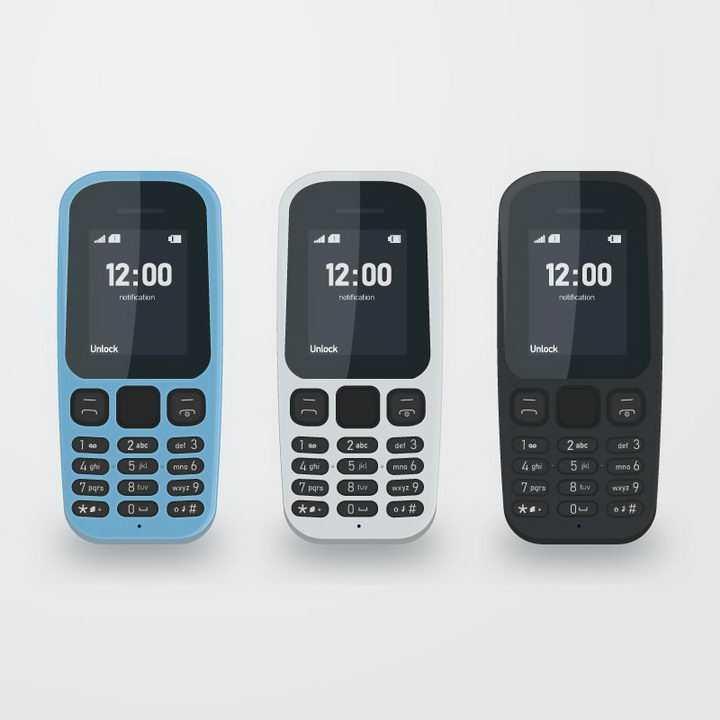 三款按键直板功能手机免抠png图片矢量图素材