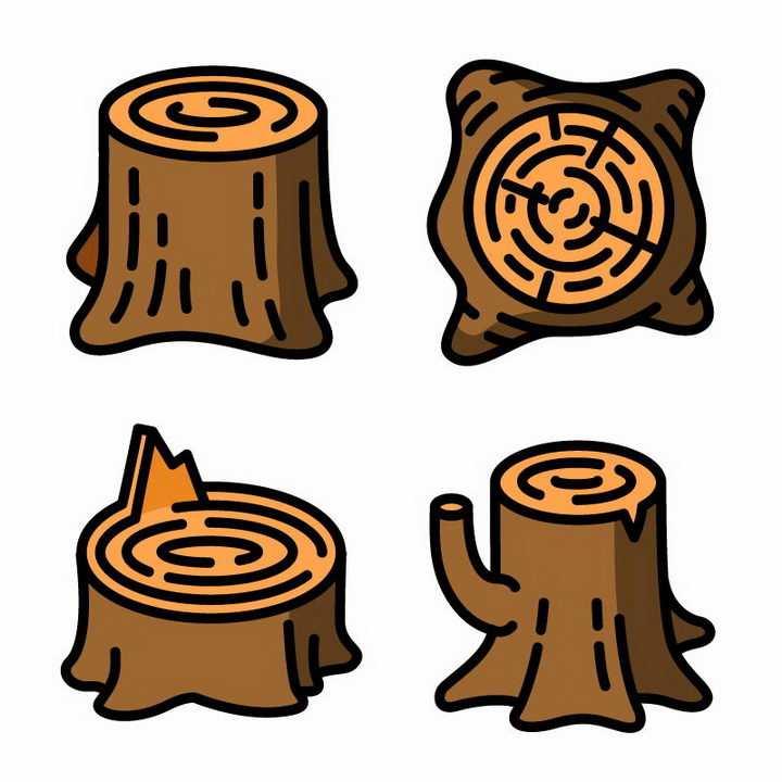四款不同角度的树桩大树年轮免抠png图片矢量图素材