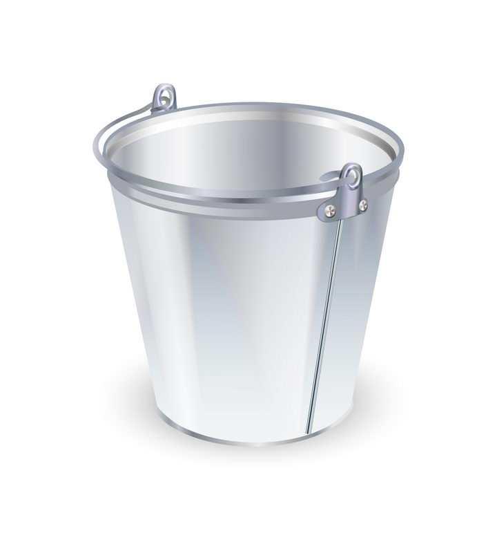 一个银色的金属水桶铁桶图片免抠矢量图