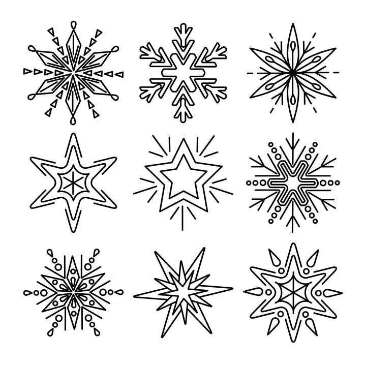 9款黑色线条雪花图案图片免抠素材