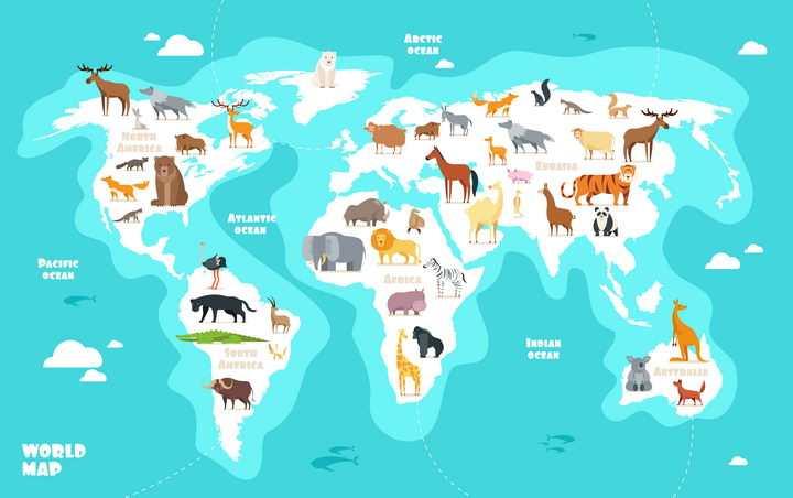 卡通风格野生动物世界地图中学地理配图图片免抠素材
