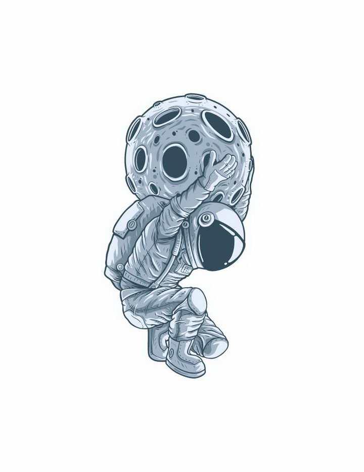 手绘插画风格背着一个星球的宇航员免抠png图片矢量图素材