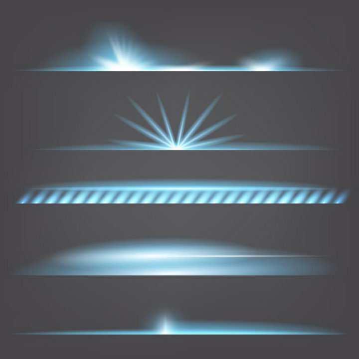 5种蓝色的星光光晕效果图免抠png图片矢量图素材