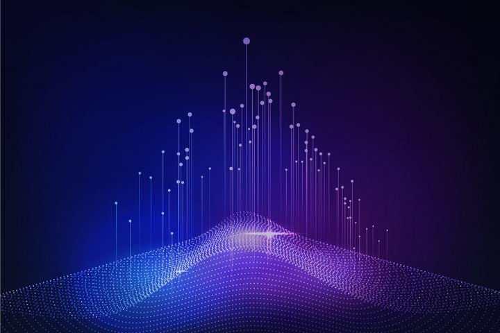 创意唯美风格蓝紫色光点线条效果背景图片