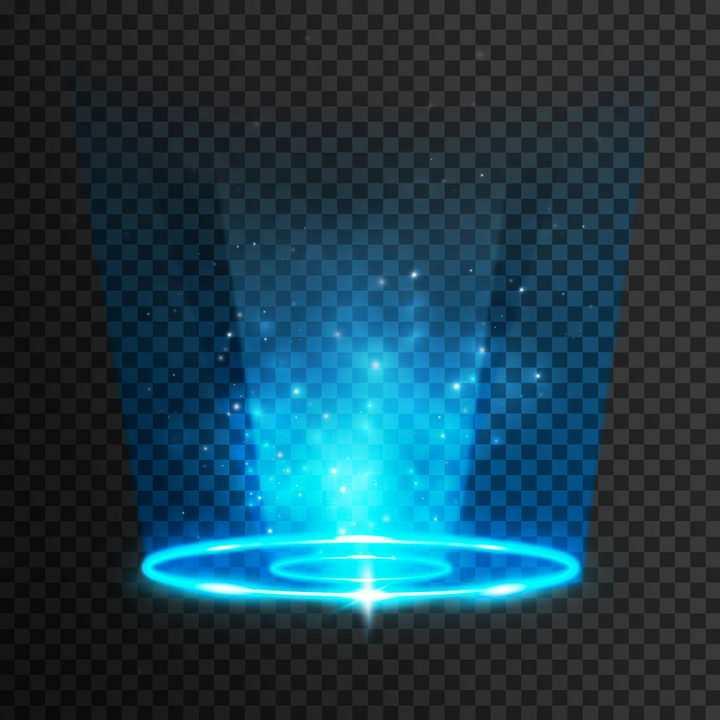 蓝色模糊灯光光芒发光效果图片免抠矢量图素材
