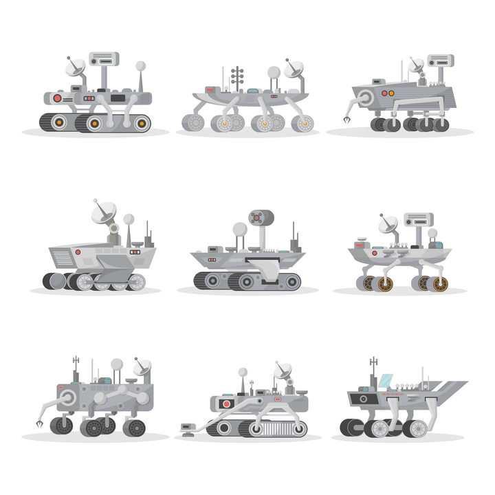 9款火星探测车月球探测车天文科普图片免抠素材