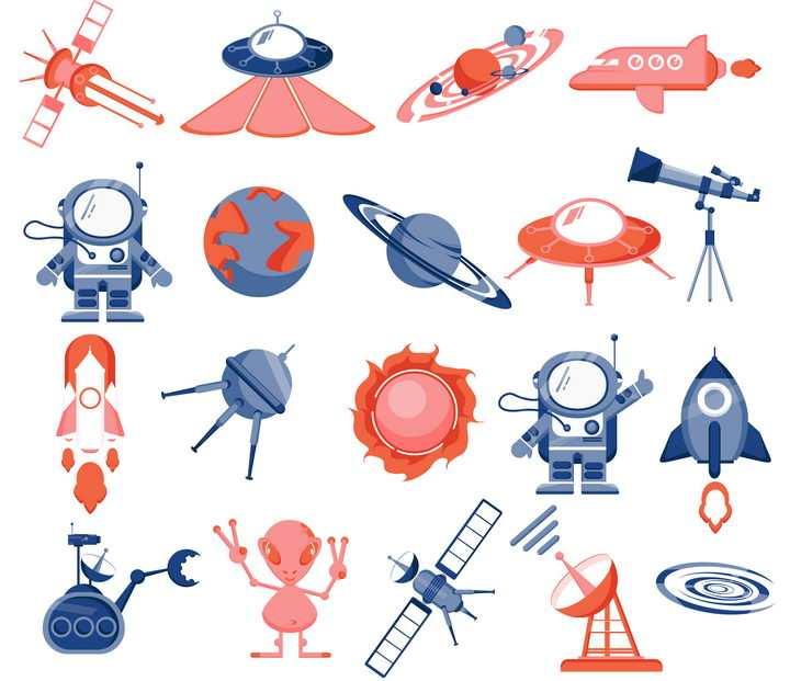 卡通风格飞碟外星人宇航员卫星天文望远镜宇宙探索图片免抠素材