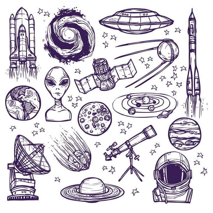 圆珠笔手绘风格各种天文航天素材航天飞机飞碟外星人等等免抠矢量图片素材