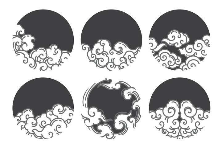 深灰色圆底的祥云图案图片免抠素材