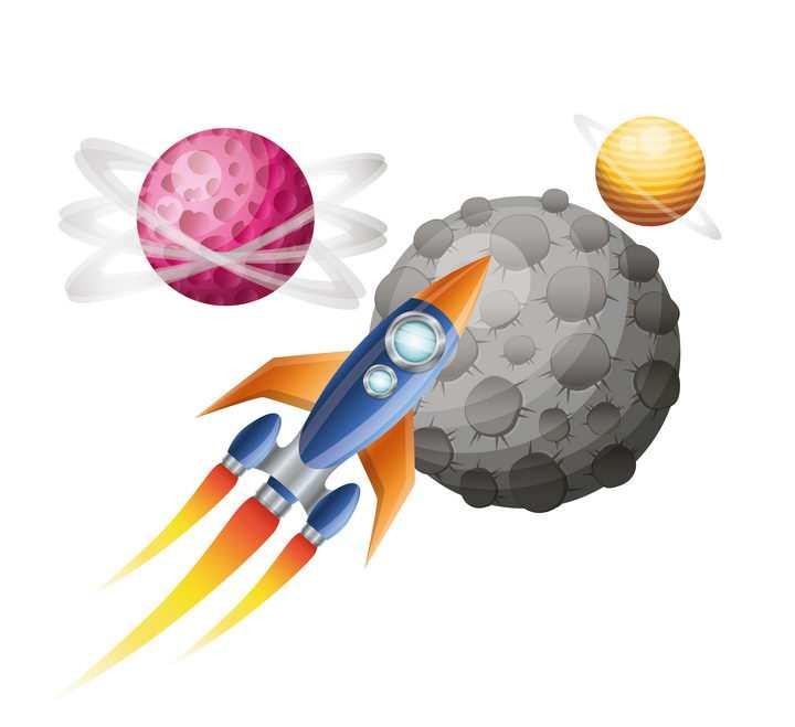 创意在外太空中飞行的卡通小火箭免抠矢量图片素材