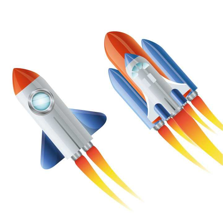 可爱正在飞行中的卡通小火箭和航天飞机免抠矢量图片素材