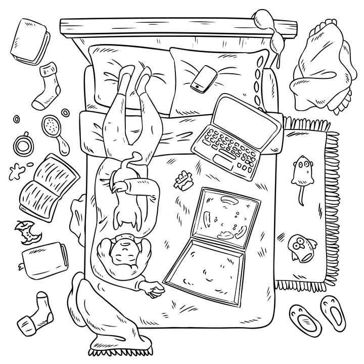 线条手绘卡通躺在床上抱着猫咪吃披萨玩电脑的女孩图片免抠素材