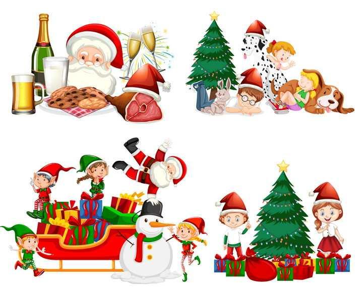 4款卡通圣诞节一起玩耍的小朋友和圣诞老人图片免抠素材