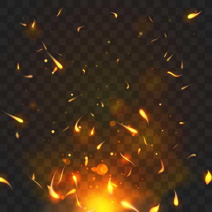 燃烧的火焰和飘舞的火花火星效果图片免抠矢量图素材