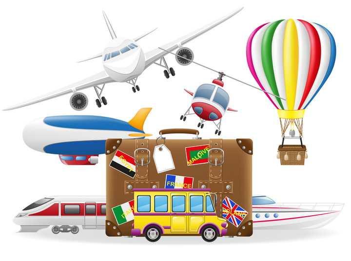 各种旅行元素大集合旅行包飞机热气球等免抠矢量图片素材