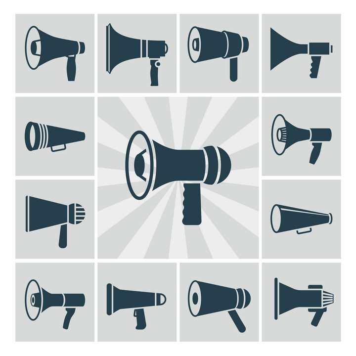13款不同的喇叭扬声器图案图片免抠素材