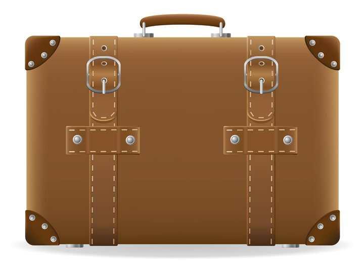 棕色复古风格的旅行包箱包免抠矢量图片素材