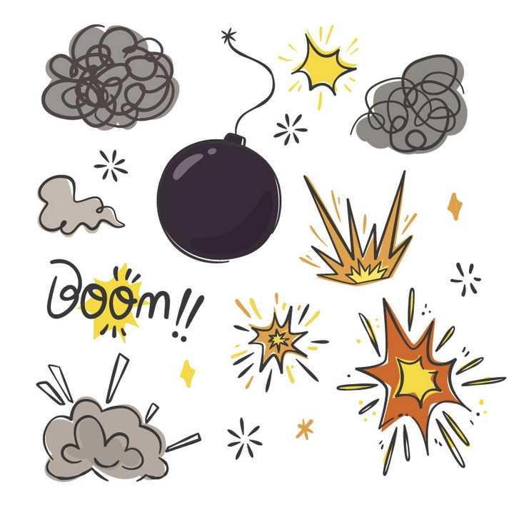 各种手绘漫画风格炸弹和爆炸效果图片免抠素材