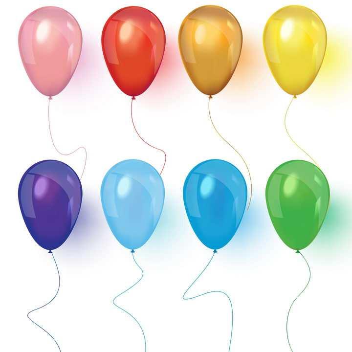 8款红色紫色黄色蓝色绿色气球图片免抠素材