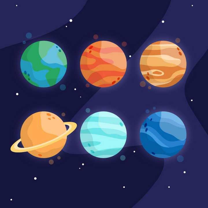 6个扁平化风格的星球天文科普图片免抠素材