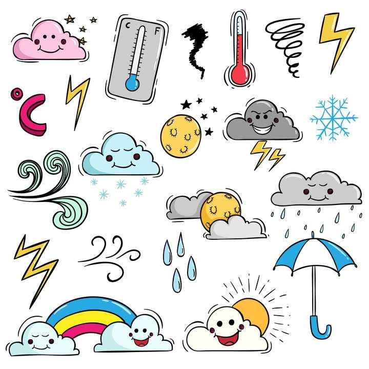 各种带卡通表情的云朵温度计彩虹雨伞等天气符号图片免抠矢量素材
